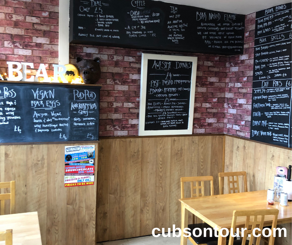 Bear Kicthen, Wakefield, restaurant and take away - inside the restaurant and menu